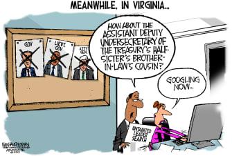 PoliticalCartoonU.S. Ralph Northam Justin Fairfax Scandals GOP Democrats