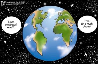 Editorial Cartoon World coronavirus pollution clean air