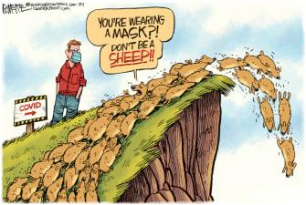 Editorial Cartoon U.S. coronavirus masks lemmings sheep