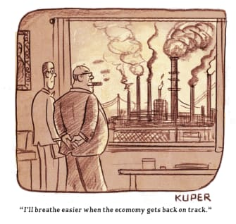 Editorial Cartoon U.S. business economy coronavirus pollution