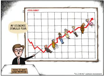 Political Cartoon U.S. gov Dan Patrick economic stimulus plan elderly death rate rises coronavirus
