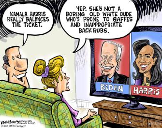 Political Cartoon U.S. Kamala Harris Joe Biden Vice President Running Mate Democratic Ticket