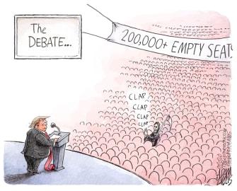 Political Cartoon U.S. Trump COVID deaths debate