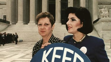 Norma McCorvey and Gloria Allred.