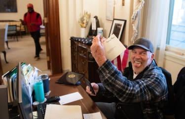 Richard Barnett in Nancy Pelosi's office.