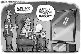 Political Cartoon U.S. Trump Senate Impeachment Super Bowl 2020 NFL Democrats Republicans