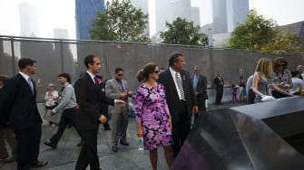 Gov. Chris Christie and his wife, Pat, at 9/11 memorial service where he allegedly learned about Bridgegate