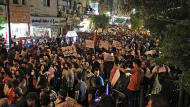 Palestinian protesters in Ramallah.