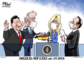 Political Cartoon U.S. Biden China Xi Jinping
