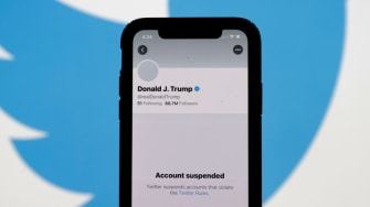 The suspended Twitter account of U.S. President Donald Trump