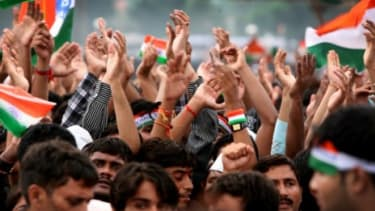 Tens of thousands of Indians participate in a series of mass protests this summer, in an anti-corruption drive against the country's ruling Congress Party.