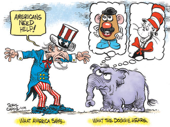 Political Cartoon U.S. covid stimulus gop dr seuss potato head