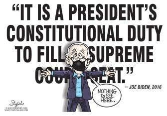 Political Cartoon U.S. Biden Ginsburg SCOTUS