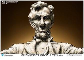 Editorial Cartoon U.S. Lincoln memorial malice towards none