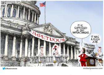 Political Cartoon U.S. Pelosi Congress Banner Impetuous Error Impeachment