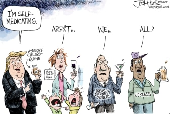 Political Cartoon U.S. Trump hydroxychloroquine self medicating