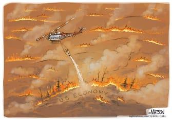 Political Cartoon U.S. wildfires economy congress