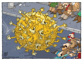 Editorial Cartoon World Coronavirus COVID-19 pandemic rolling virus fear