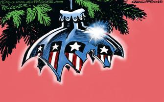 Political Cartoon U.S. Christmas Ornament America Broken