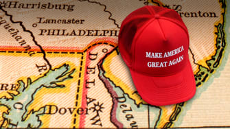A MAGA hat on a map.