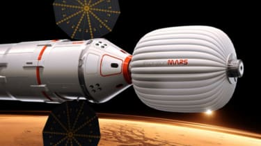 An artist's conception of the spacecraft that will send a married couple to mars.