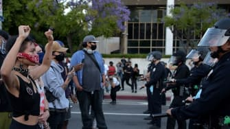 Protesters demonstrate in Los Angeles after the death of George Floyd.