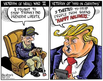 Political Cartoon U.S. Trump Veteran World War II Versus Christmas