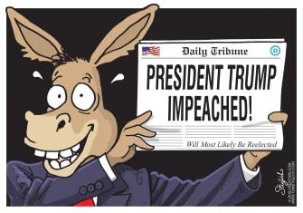 Political Cartoon U.S. Newspaper Trump Impeached Reelected
