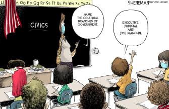 Political Cartoon U.S. joe manchin democrats
