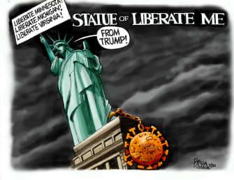 Political Cartoon U.S. Statue of Liberty liberate Trump