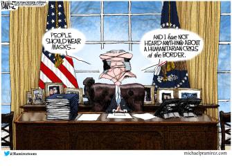 Political Cartoon U.S. biden masks border crisis