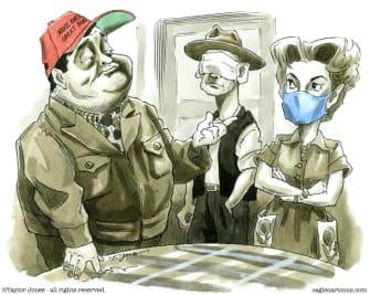 Editorial Cartoon U.S. Honeymooners MAGA masks coronavirus