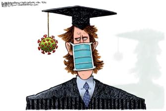 Editorial Cartoon U.S. coronavirus graduates