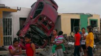 Tornado damage in Mexico.