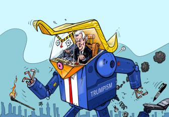 Political Cartoon U.S. biden trumpism