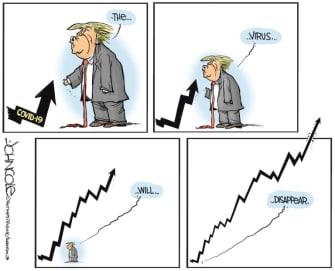 Political Cartoon U.S. Trump coronavirus graph