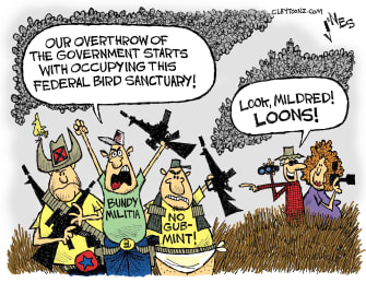 Editorial cartoon U.S. Militia Protest