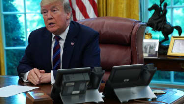 Trump talks to reporters