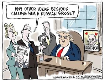 Political Cartoon U.S. Russian stooge Sanders Democratic nominee Putin Trump