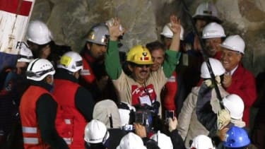 Juan Illanes Palma was the third miner to emerge from the rescue capsule.