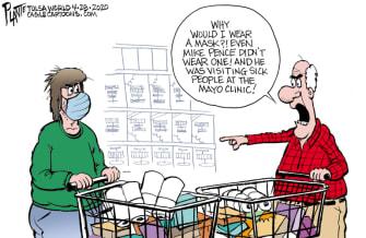 Editorial Cartoon U.S. Mike Pence no mask mayo clinic