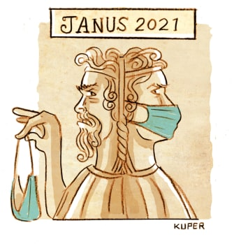 Editorial Cartoon U.S. janus covid mask