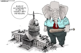 Political Cartoon U.S. GOP Congress capitol riot Trump