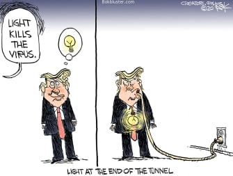 Political Cartoon U.S. Trump promotes UV light in body kills coronavirus