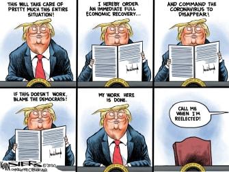 Political Cartoon U.S. Trump Executive Order Coronavirus Economy Blame Democrats