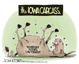 Political Cartoon U.S. Democrats Iowa Caucus DNC low turnout tech issues
