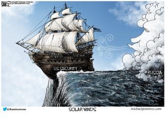 Political Cartoon U.S. Russia espionage