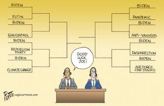 Political Cartoon U.S. biden march madness