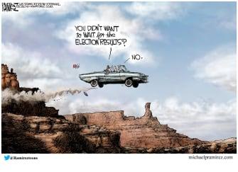 Political Cartoon U.S. Trump Biden Thelma and Louise