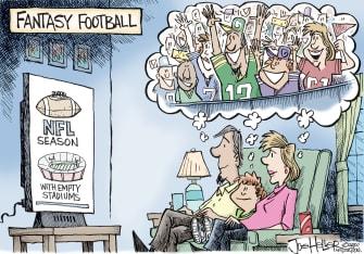 Editorial Cartoon U.S. NFL football empty stadiums